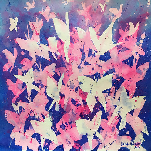 Butterfly Kaleidoscope - Navy & Pink