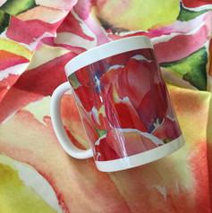 Red Tulips scarf and mug