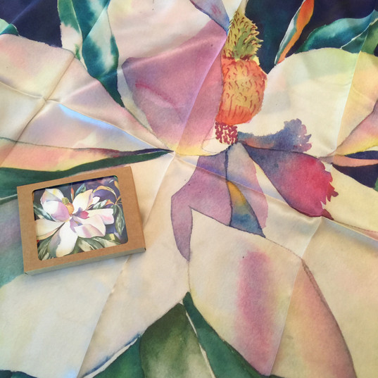 Silk scarf and matching note cards