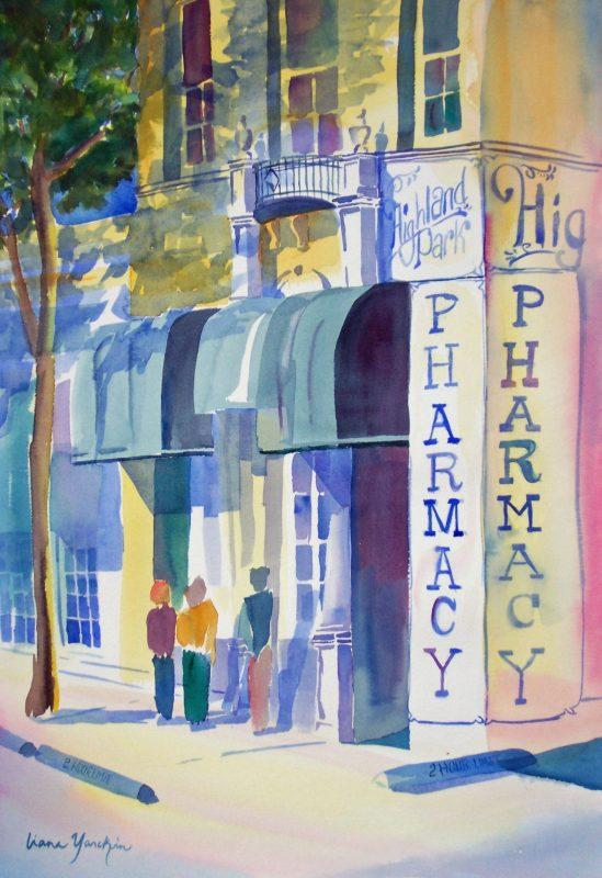 Highland Park Pharmacy, watercolor.