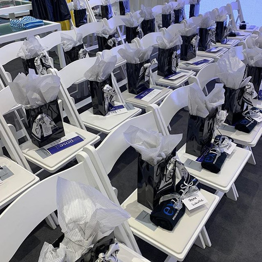 LY scarves on swag bags for Exposed