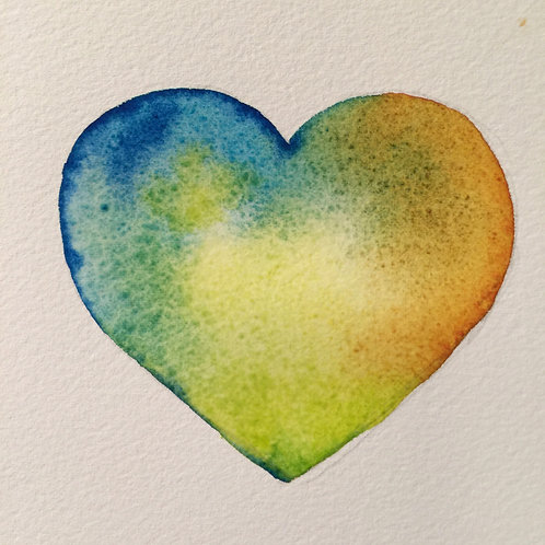 Heart, contemporary art, original watercolor