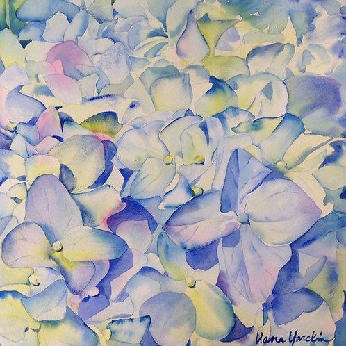 Silk Scarf - blue hydrangea