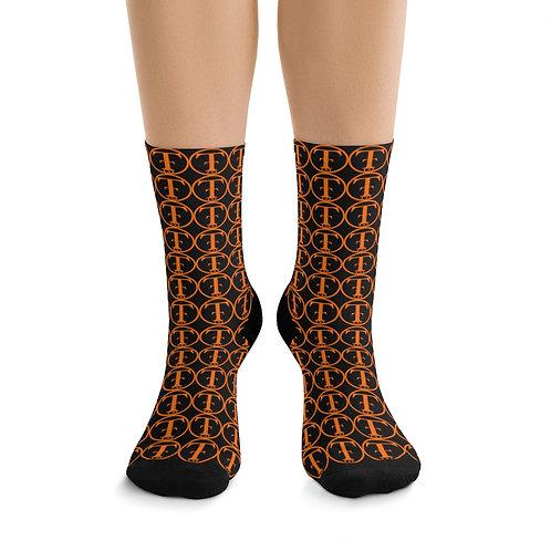 TNTCO Black DTG Socks (Orange)
