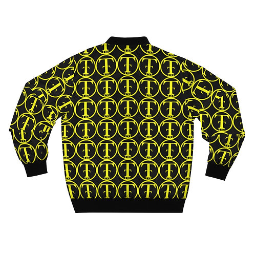 TNTCO Black Men's AOP Bomber Jacket (Yellow)