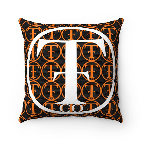 TNTCO Spun Polyester Square Pillow (Orange)