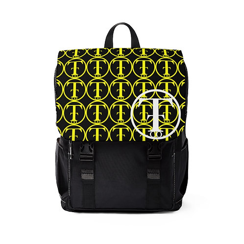 TNTCO. Black Unisex Casual Shoulder Backpack (Yellow)