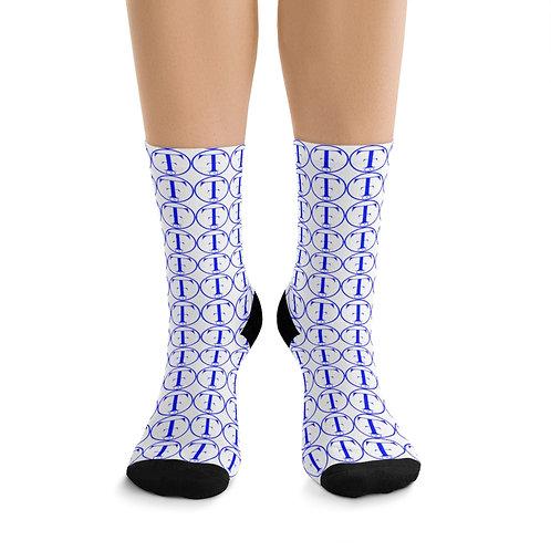 TNTCO White DTG Socks (Blue)