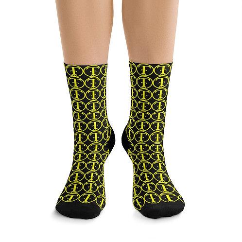 TNTCO Black DTG Socks (Yellow)
