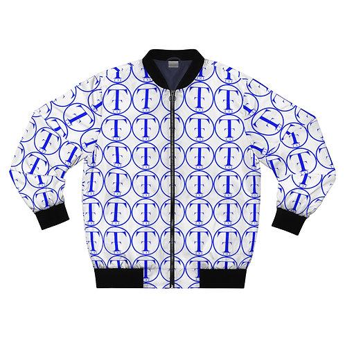 TNTCO White Men's AOP Bomber Jacket (Blue)