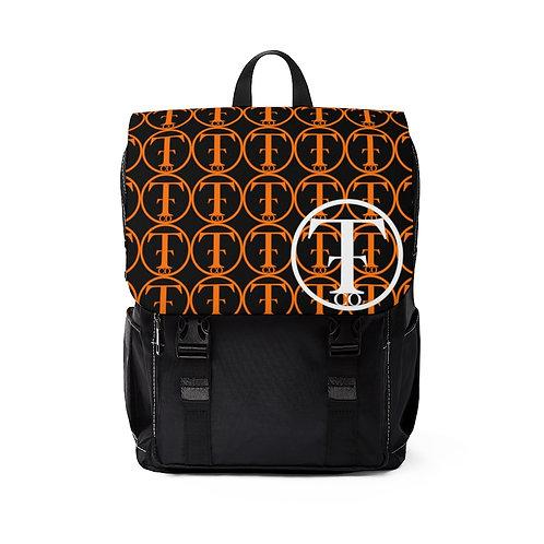 TNTCO. Black Unisex Casual Shoulder Backpack (Orange)