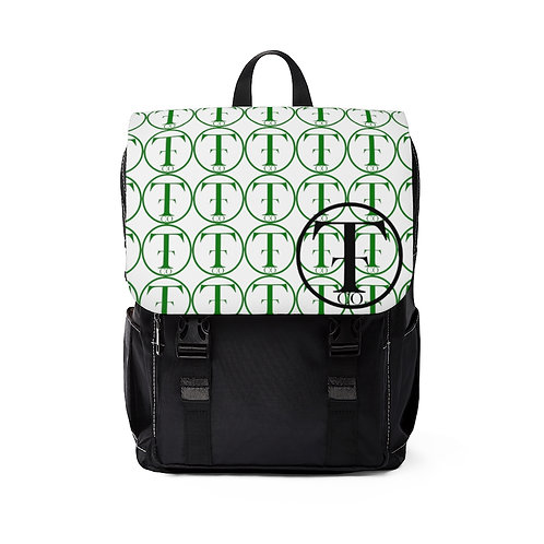 TNTCO. White Unisex Casual Shoulder Backpack (Green)