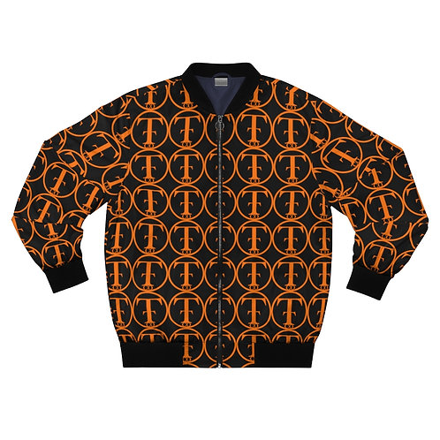 TNTCO Black Men's AOP Bomber Jacket (Orange)