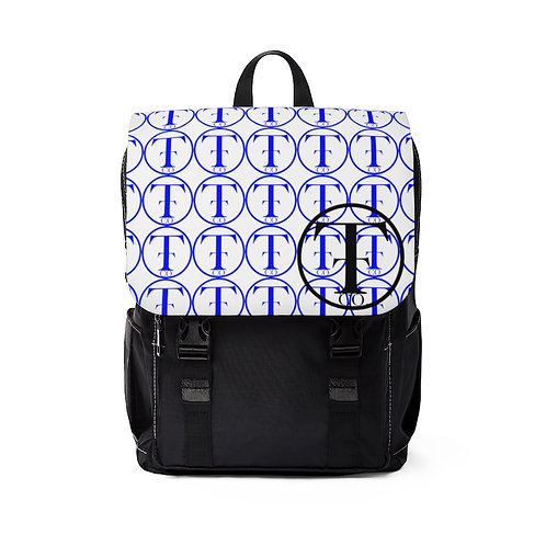 TNTCO. White Unisex Casual Shoulder Backpack (Blue)