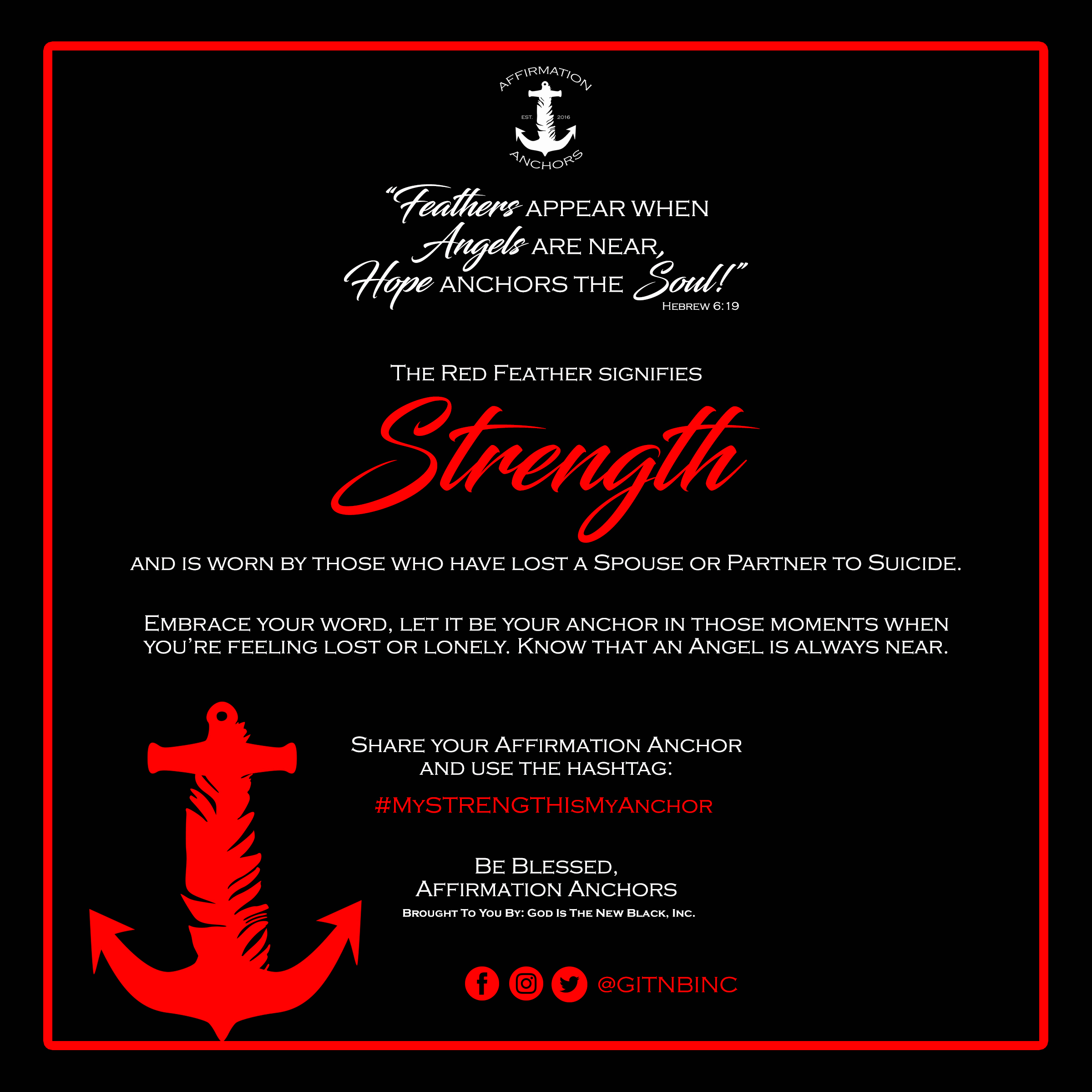Red Strength Affirmation Anchors Card