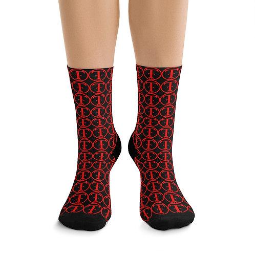 TNTCO Black DTG Socks (Red)