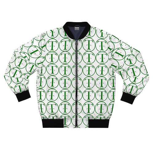 TNTCO White Men's AOP Bomber Jacket (Green)
