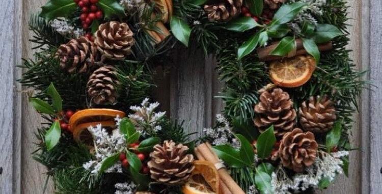 Luxury fresh festive door wreath