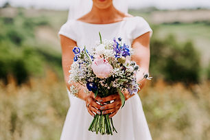 Summer wedding bouquet of fresh flowers