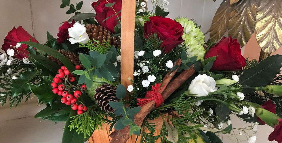 Christmas basket of fresh flowers