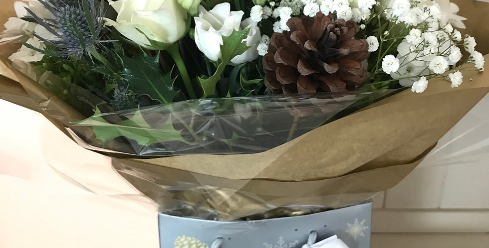 Christmas hand tied bouquet in water