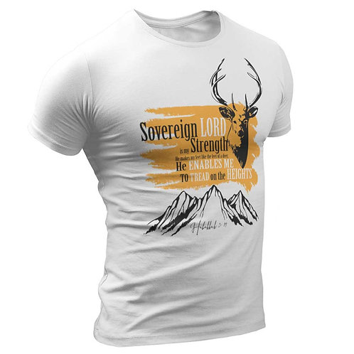 """""""Sovereign Lord Is My Strength"""" Men's White Round Neck T Shirt"""