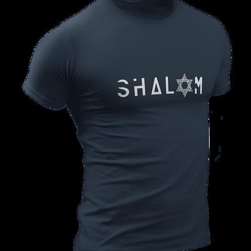 """""""Shalom"""" Men's Navy Blue Round Neck T Shirt"""