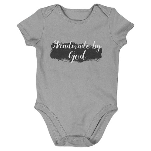 """Handmade By God"" Baby's Grey Romper"