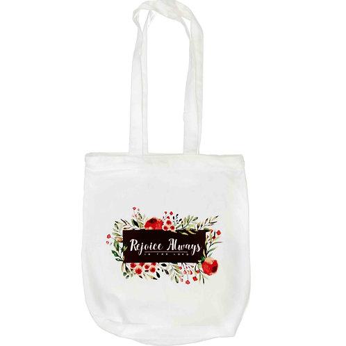 """Rejoice Always"" Zipper Tote Bag"