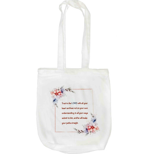 """""""Trust In The Lord With All Your Heart"""" Zipper Tote Bag"""
