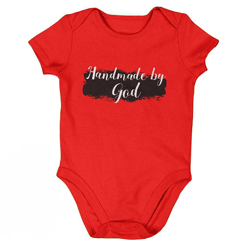 """Handmade By God"" Baby's Red Romper"