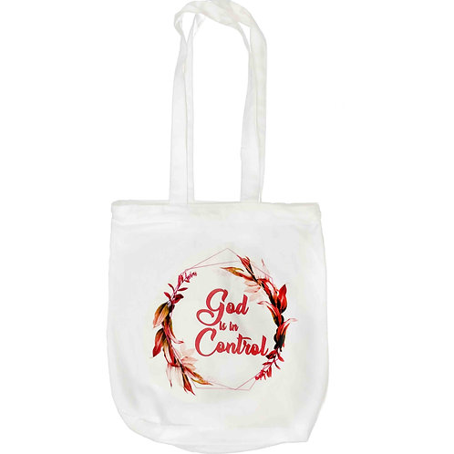 """God Is In Control"" Zipper Tote Bag"