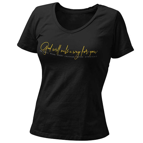 """God Will Make A Way"" Women's Black Round Neck T Shirt"