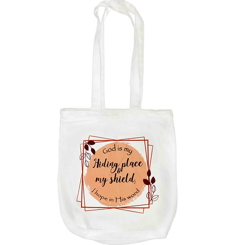 """God Is My Hiding Place"" Zipper Tote Bag"