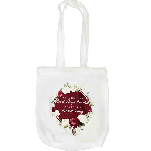 """The Lord Has Great Things For You"" Zipper Tote Bag"