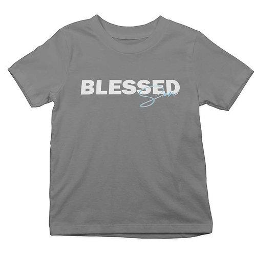 """Blessed Son Boy's Grey Round Neck T Shirt"