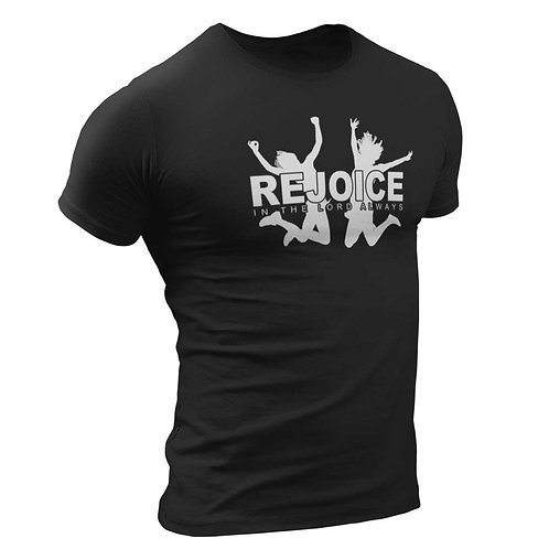 """Rejoice In The Lord Always"" Men's Black Round Neck T Shirt"