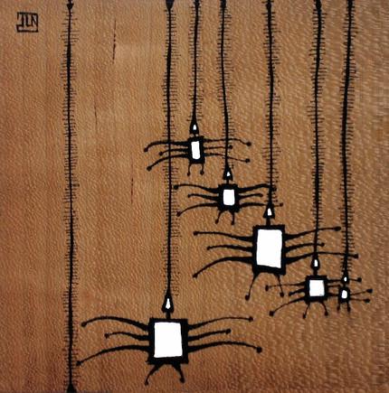 Araignées sur feuille de bois