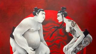 Sumo et femme tatouée