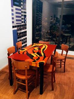création sur mobilier bois