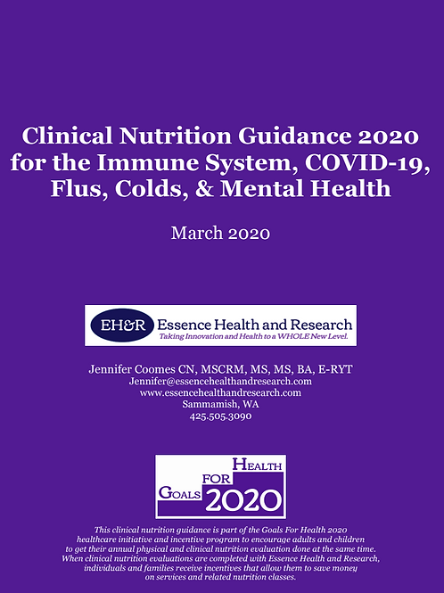 Clinical Nutrition Guidance 2020 for the immune System & Mental Health