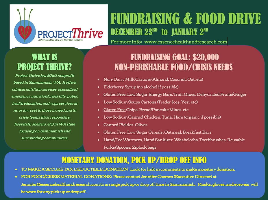Project Thrive, Food-Fundraising Drive,