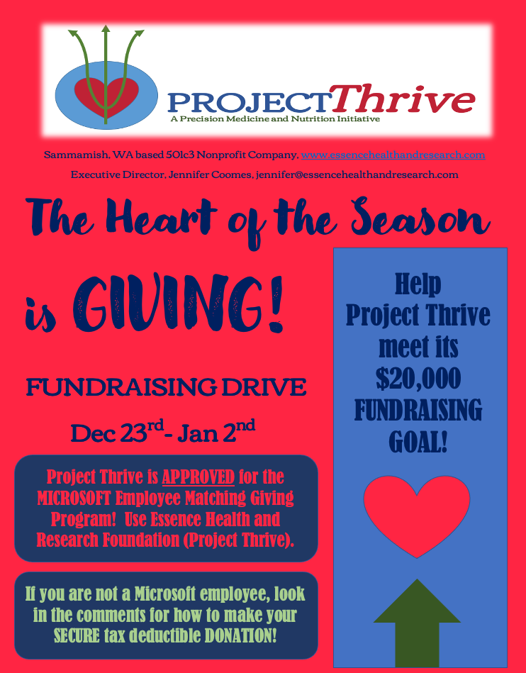 Project Thrive, Dec 2020 Fundraising Ad.