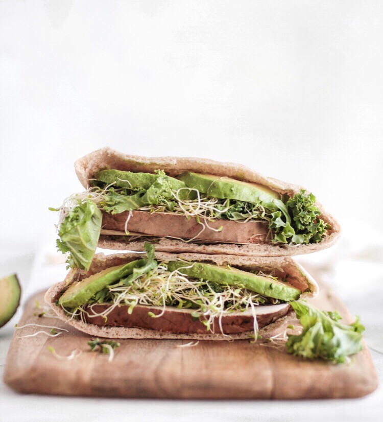 vegan pita recipe, avocado pita, vegan food