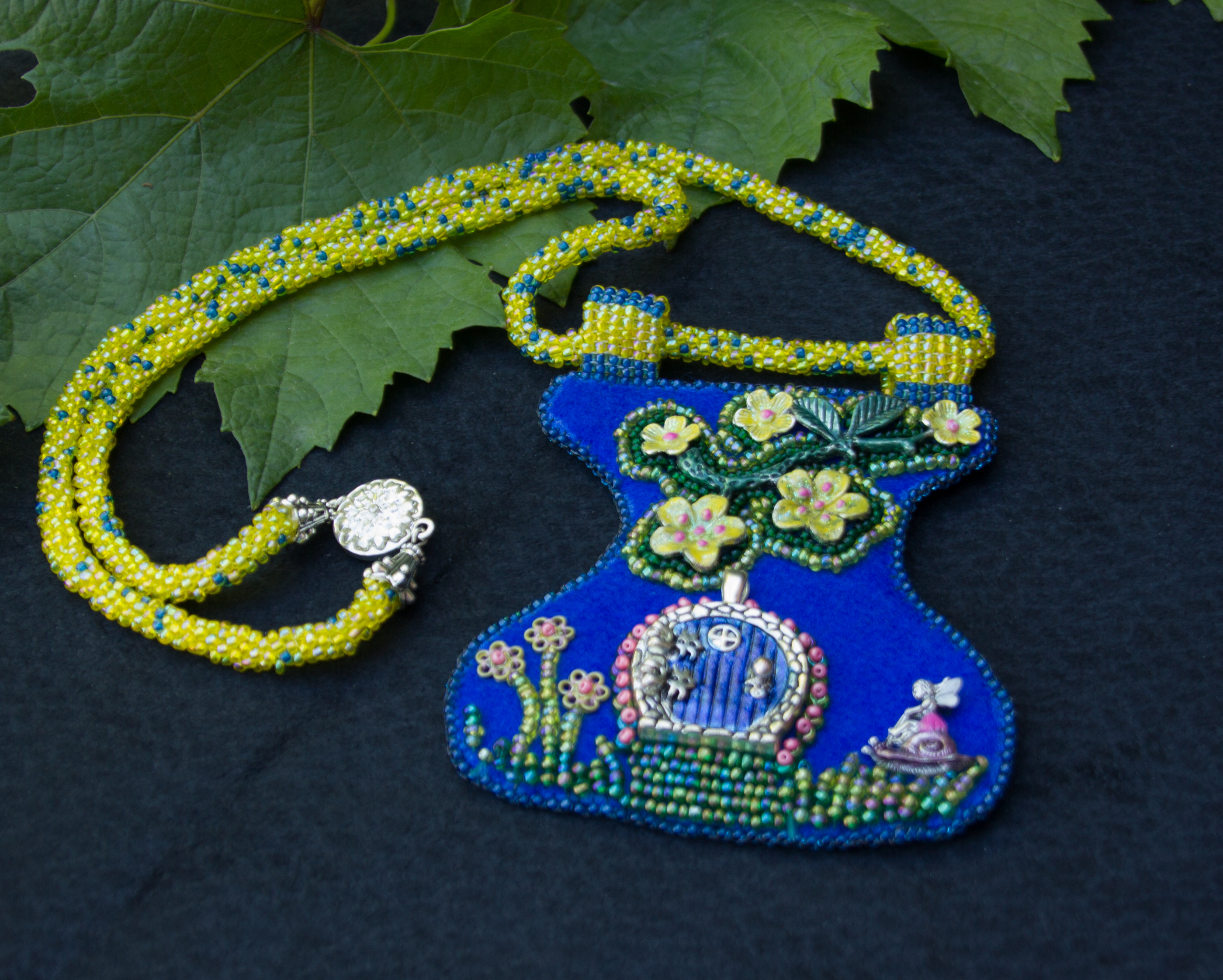 Blue Garden Door Necklace
