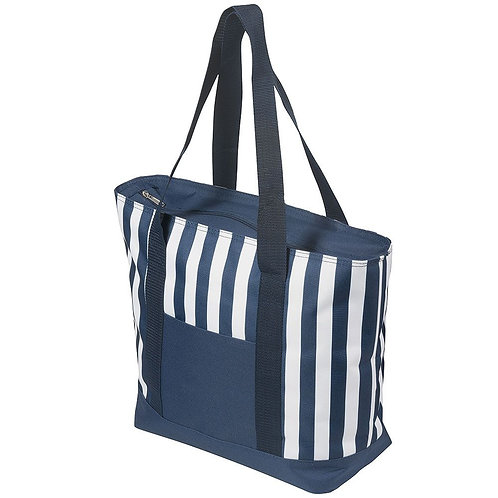 17.5 Litre Zippered Striped Beach Cooler bag
