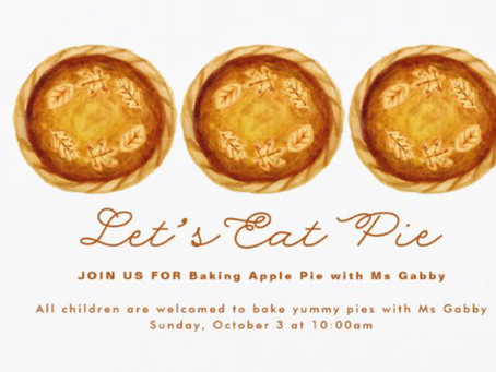 All Children . . . Apple Pie Baking on October 3