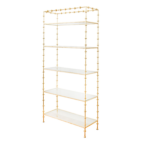 Sculpted Etagere With Ring Detail In Gold Leaf