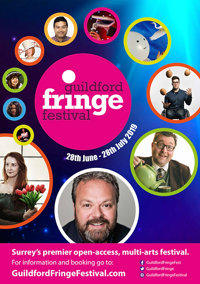 Guildford Fringe Festival 2019 Theatre design poster flyer logo branding Ian Renshaw actor prop maker designer illustrator musician