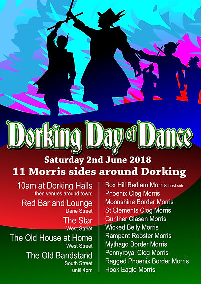 Dorking Day of Dance Boxhill Bedlam Morris Dancing Theatre design poster flyer logo branding Ian Renshaw actor prop maker designer illustrator musician